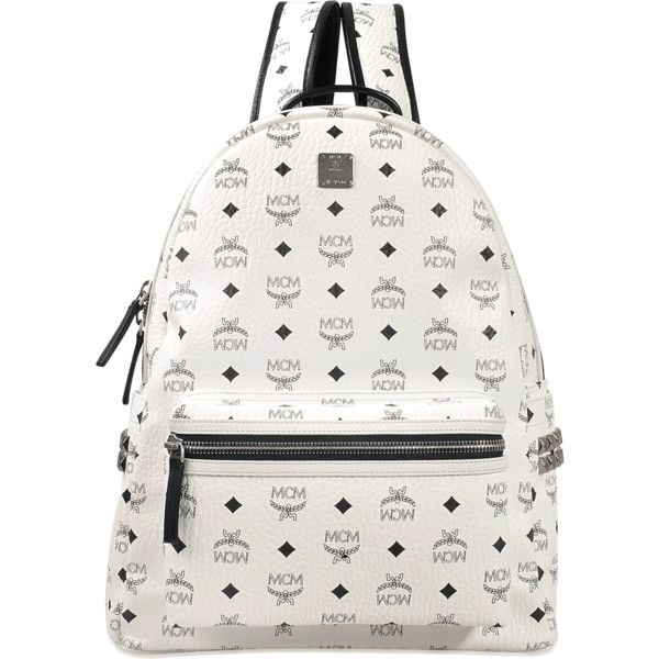 MCM Stark medium backpack ($825) ❤ liked on Polyvore featuring bags, backpacks, white, mcm bag, mcm backpack, rucksack bags, white bag and white backpack