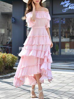 1440885ba377 Pink Off Shoulder Ruffled Frill Sleeve Tiered Solid A-line Maxi Dress