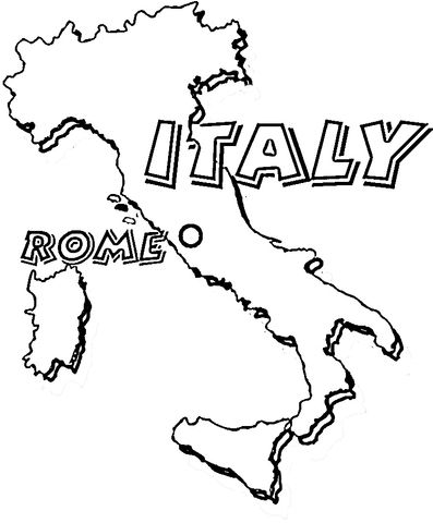 Map Of Italy Rome Is The Capital Of Italy Coloring Page From