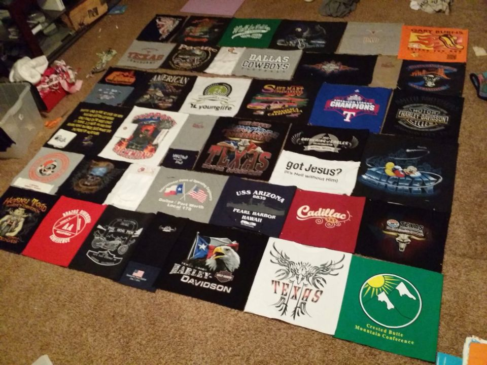 My amazing husband's at-shirt quilt