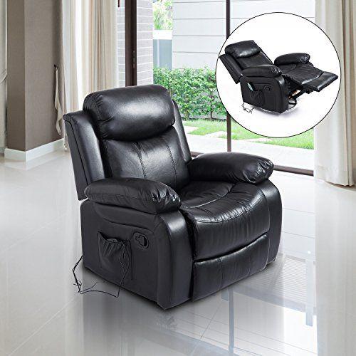 Homcom Fauteuil de massage et relaxation électrique chauffant inclinable pivotant  repose-pied télécommande noir neuf 55 03f0933b09d4