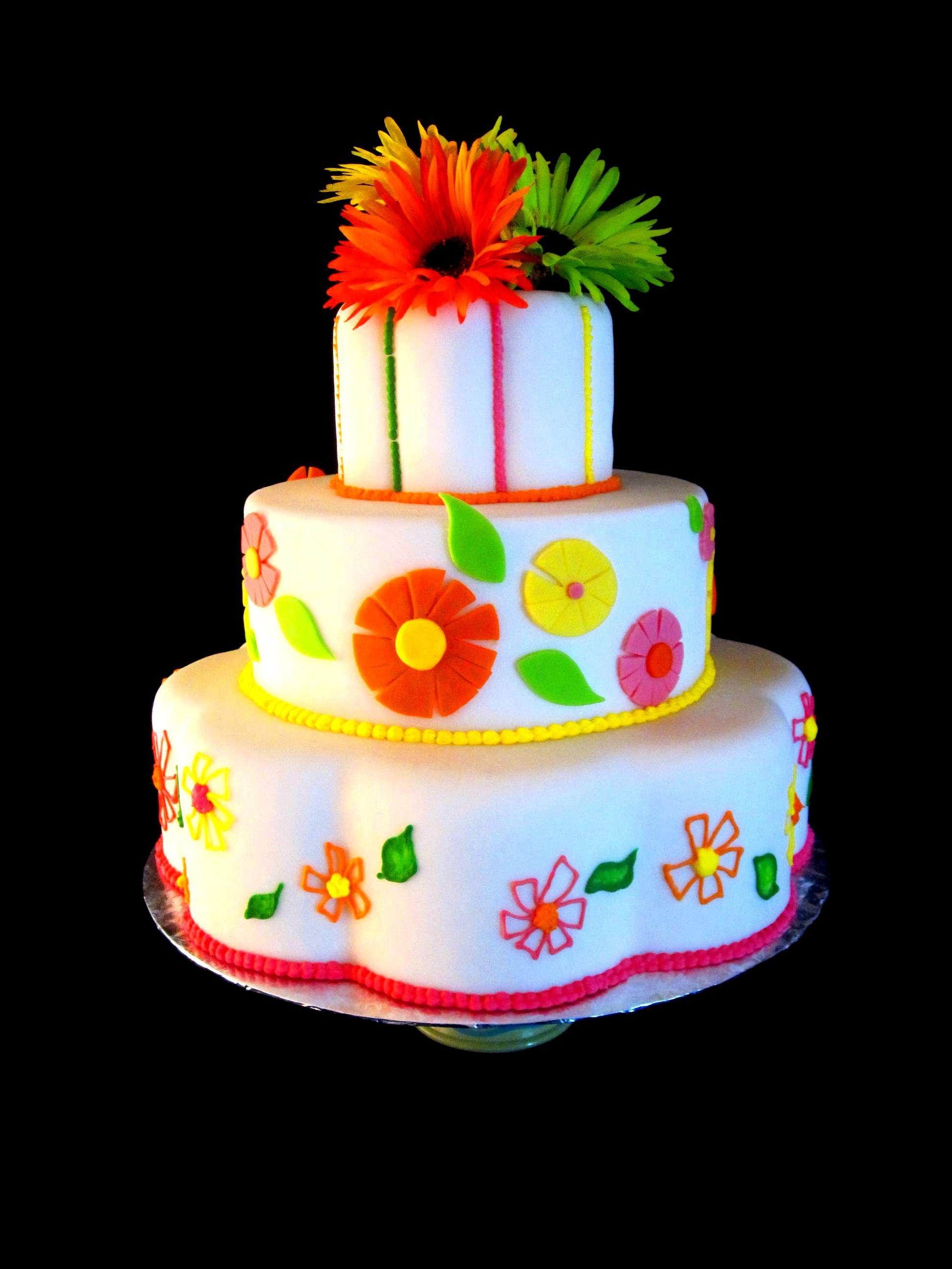 Whimsical Fondant Gerber Daisy Wedding Cake Wedding Cake Cake And