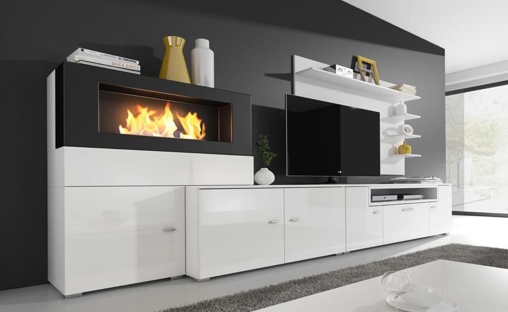 Wohnwand Weiß Mit Integriertem Bioethanol Kamin