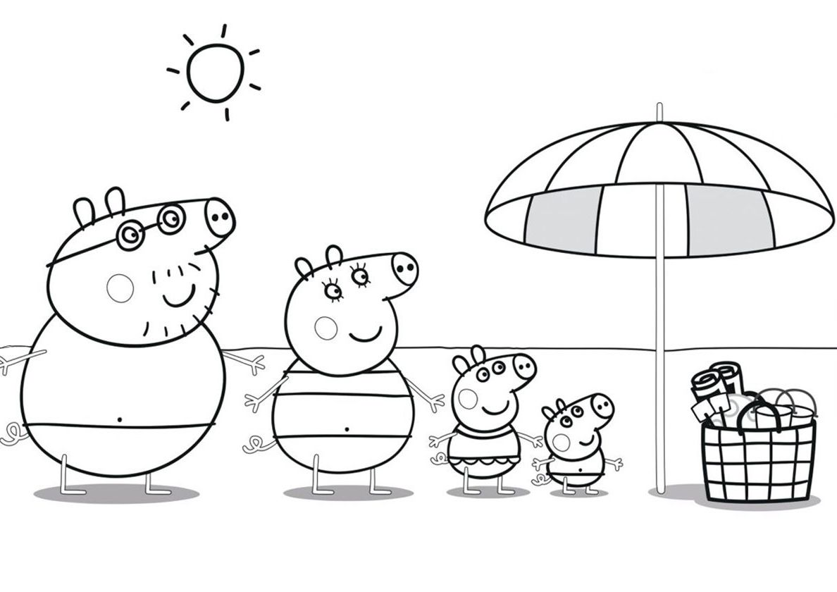 Beach Picnic - high-quality free coloring from the category: Peppa Pig.  More printable pictures on our website:… | Cartoon coloring pages, Peppa pig,  Coloring pages