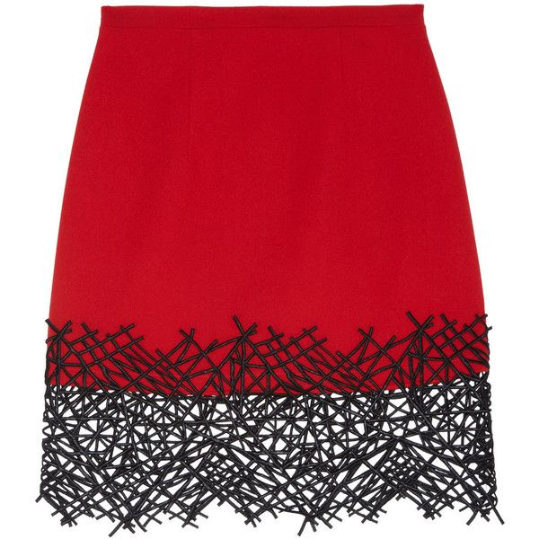 Christopher Kane Lace-trimmed wool-crepe mini skirt found on Polyvore