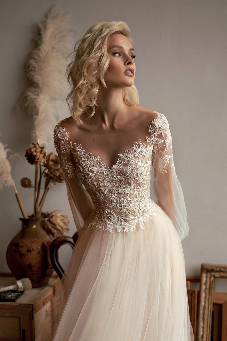 Tulle Wedding Dress Boho Ivory Illusion Long Sleeve Etsy In 2020 Wedding Dresses Simple Wedding Gowns Ivory Wedding Dress