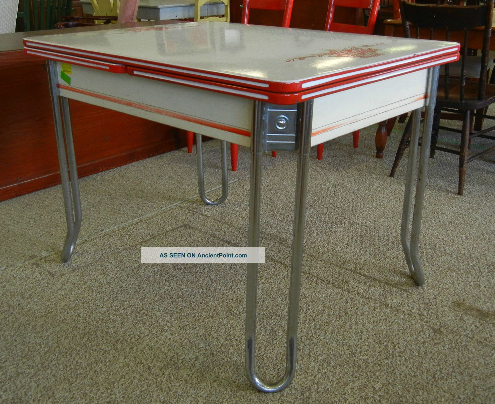 Sale Red White Enamel Table C. 1936 Deco Chrome Leaf