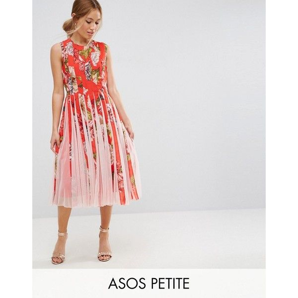 Asos Petite Floral Mesh Insert Fit And Flare Midi Dress 89 Liked On Polyvore Featuring Petite Fashion Summer Floral Print Midi Dress Petite Short Dresses