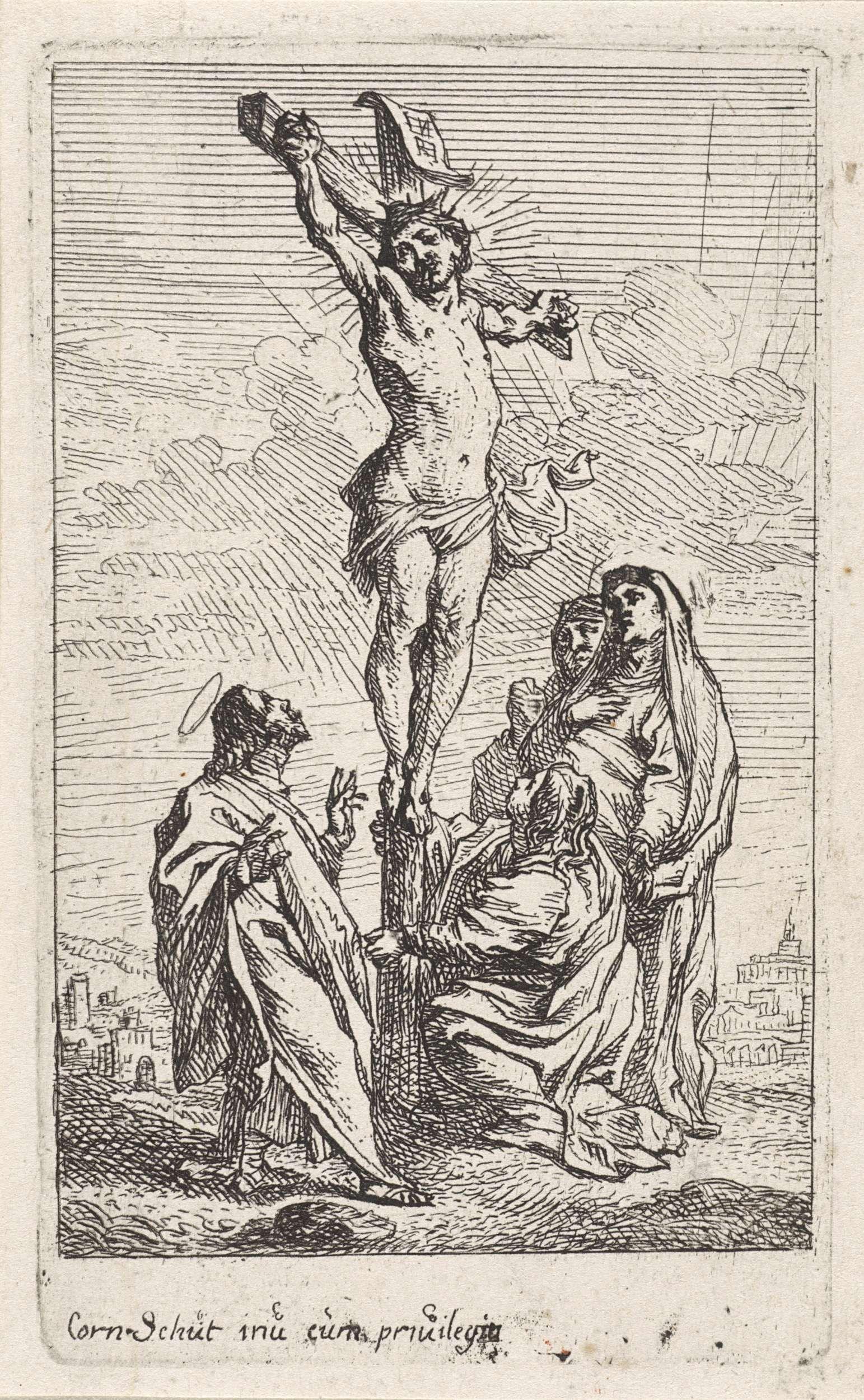 Cornelis Schut (I) | Kruisiging van Christus, Cornelis Schut (I), unknown, 1618 - 1655 | De H. Johannes kijkt op naar Christus aan het kruis. Maria Magdalena zit geknield. Achter haar staan de andere heilige vrouwen.