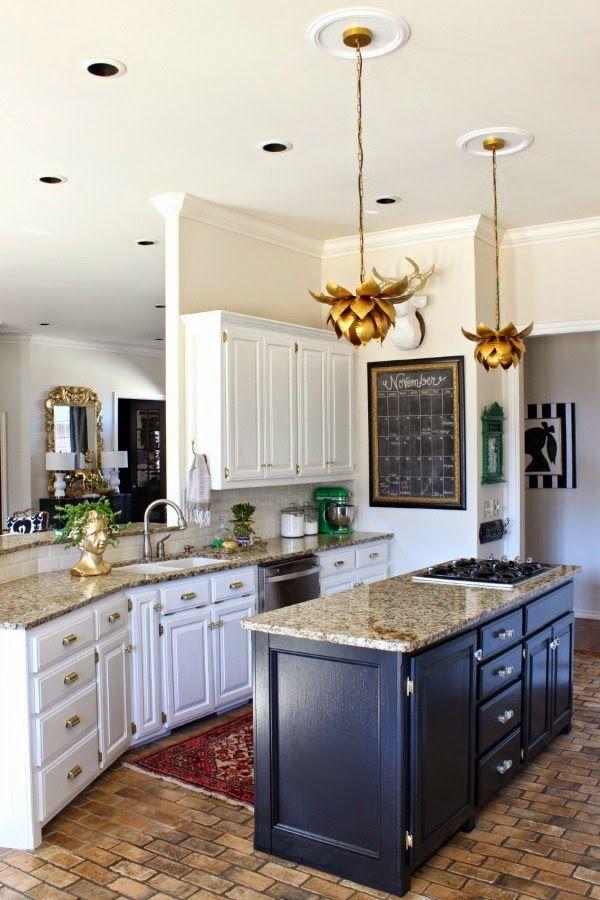 Kitchen Makeover || White Cabinets || Black Island || Brass Hardware ||