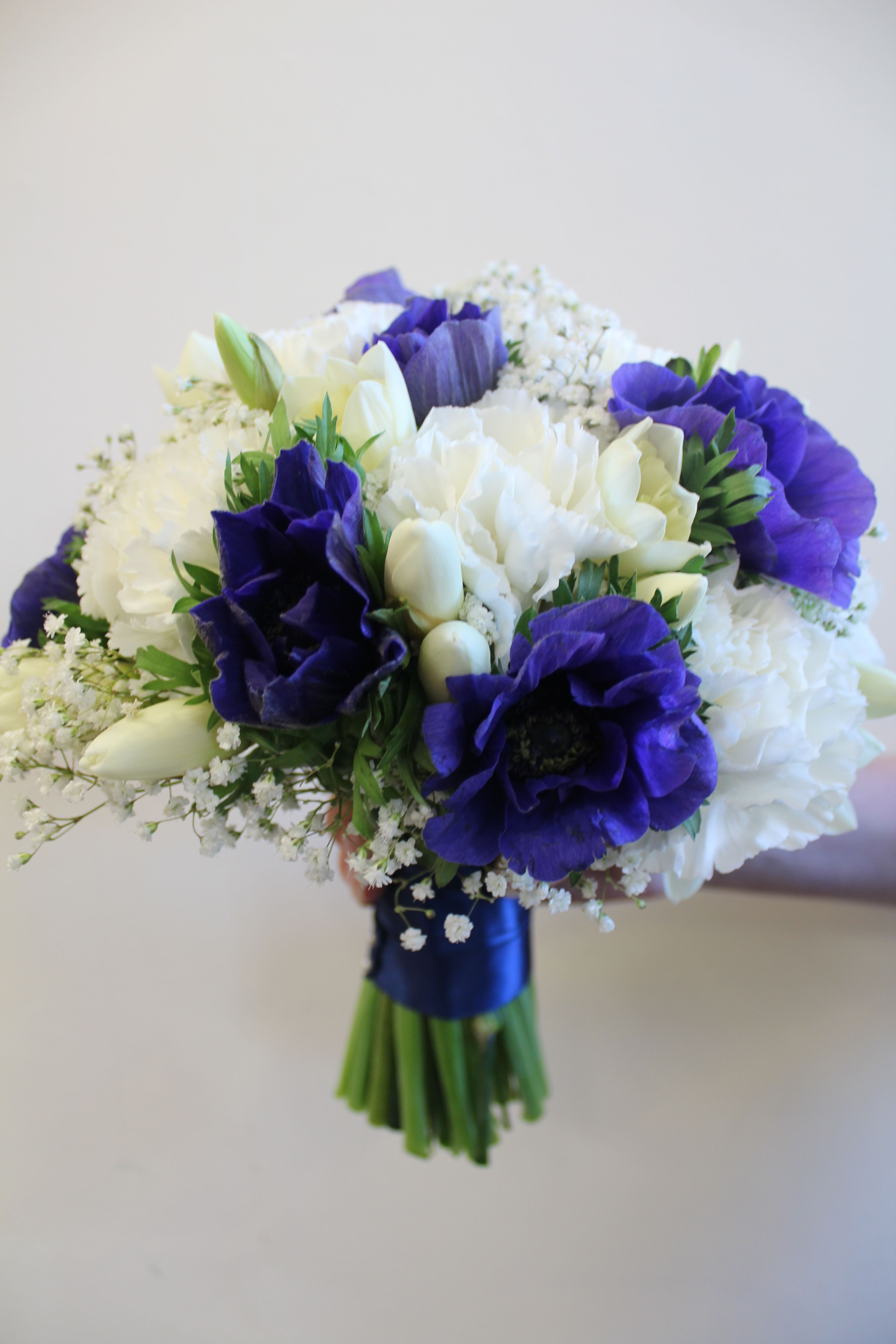 Wedding Bouquet In Navy Blue And White Anemones Wedding Flowers
