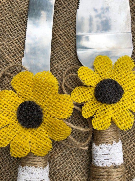 Rustic Sunflower wedding Knive set. Wedding Knives