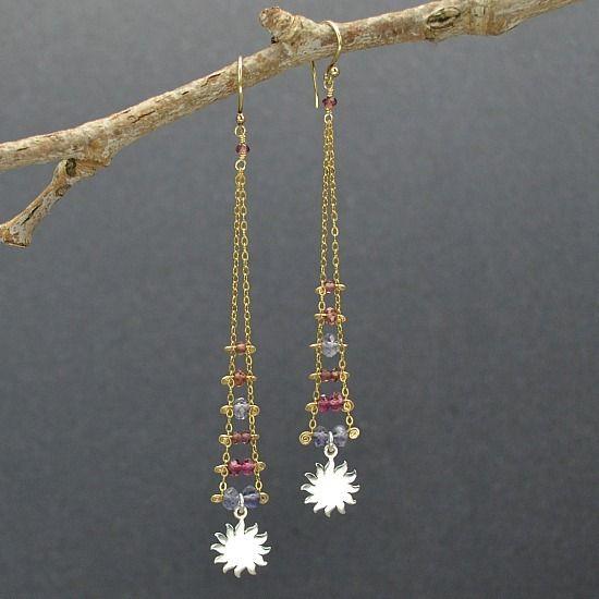sun charm, ladder earrings, ladder jewelry, silver charms, earring ...