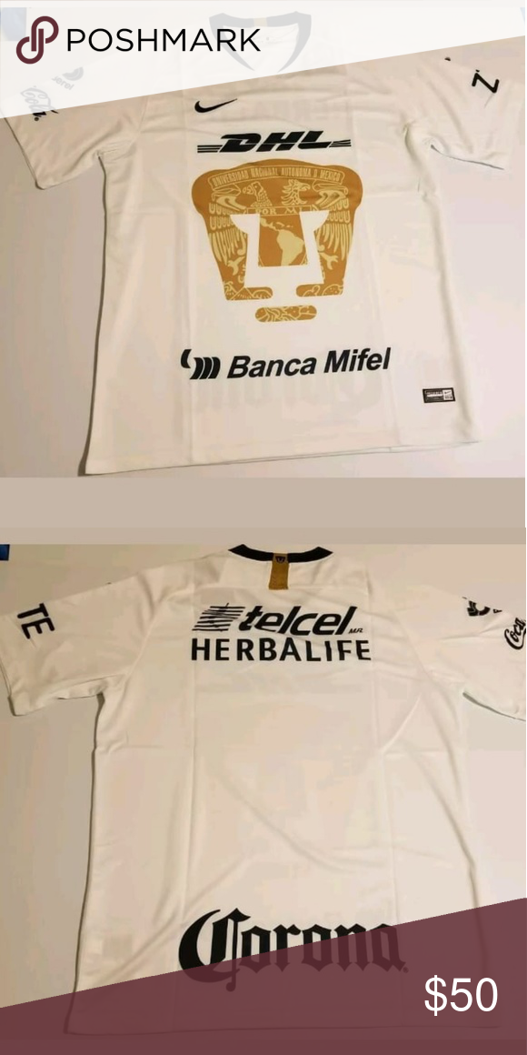 huge selection of 072d3 38282 Pumas UNAM 2018/2019 jersey size Large New Pumas UNAM white ...