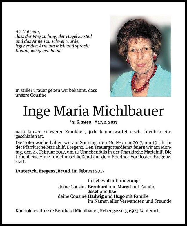 Todesanzeige Fur Inge Maria Michlbauer Vom 23 02 2017 Vn