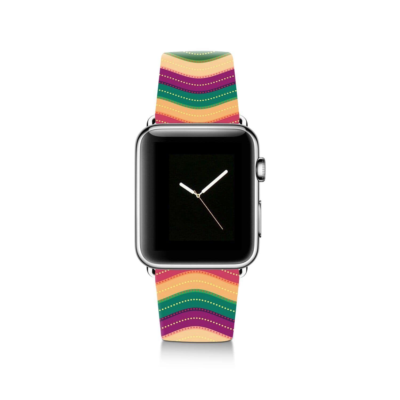Zig Zag Chevron Pattern Apple Watch Band Leather Strap Apple
