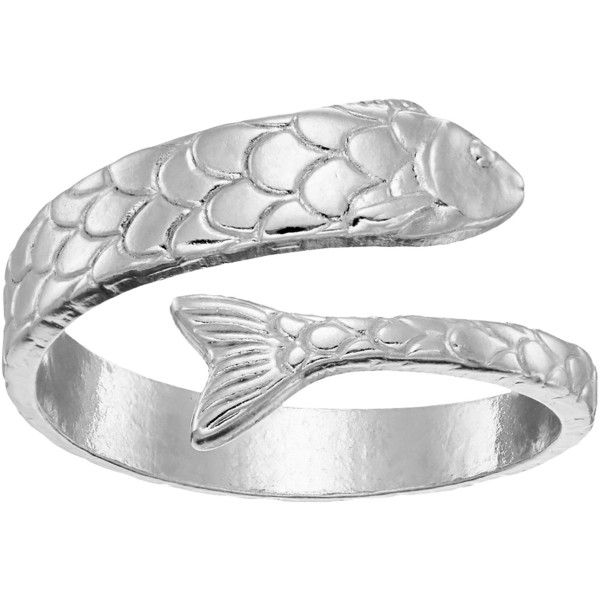 Mens Ladies Handmade adjustable silver wrap ring  fish ring Gift for her or him