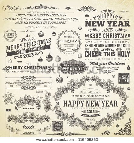 christmas decoration collection set of calligraphic and typographic elements frames vintage labels ribbons flower balls borders retro ornaments and