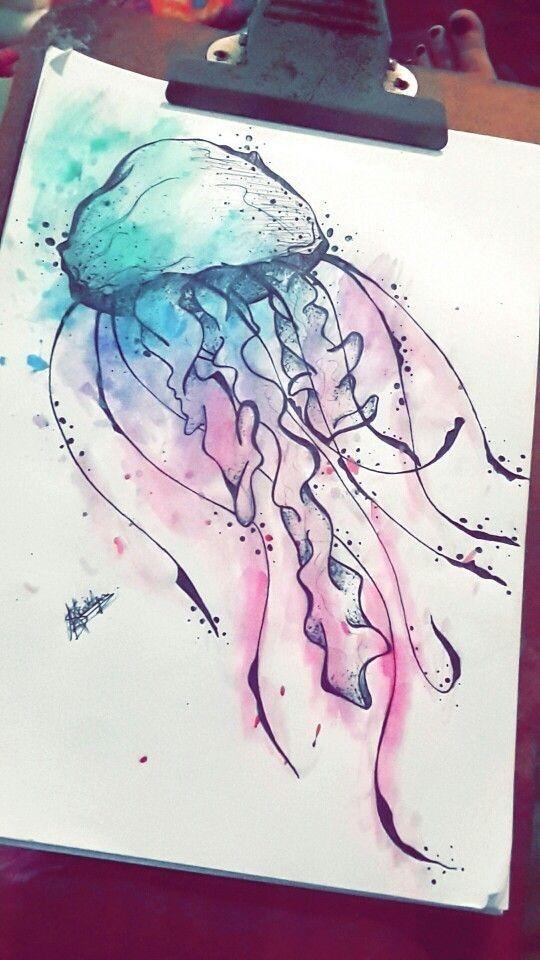 Photo of Méduse Black Line, peinte avec tatouage à l'aquarelle noir et rose #blac