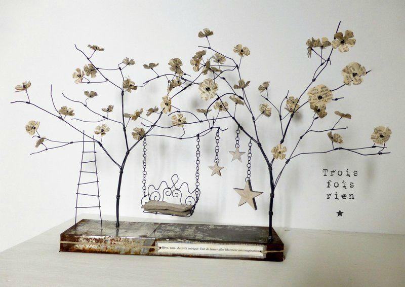 un p'tit coin pour rêver, fil de fer, bois, papier, lin, métal