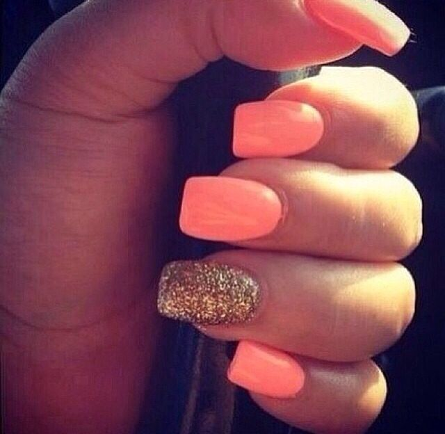 coral & glitter nails | Nails | Pinterest | Glitter nails, Short gel ...