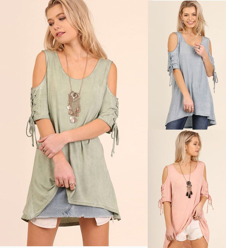 d710e4a54657d UMGEE Lace-Up Sleeve Cold Shoulder Long Tunic Swing Trapeze Boho Casual Top   umgee  tunic  casual