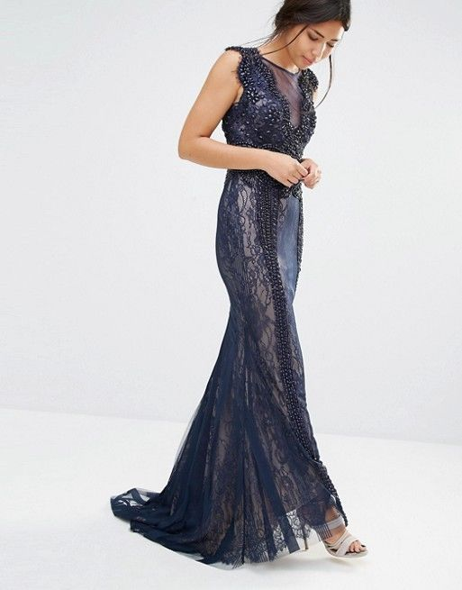 Forever Unique Louella Sequin Maxi Wedding Evening Dress Navy UK 14/EU 42/US 10  | eBay