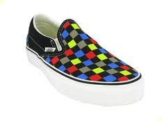 Multi Colored Checkered Vans in a size