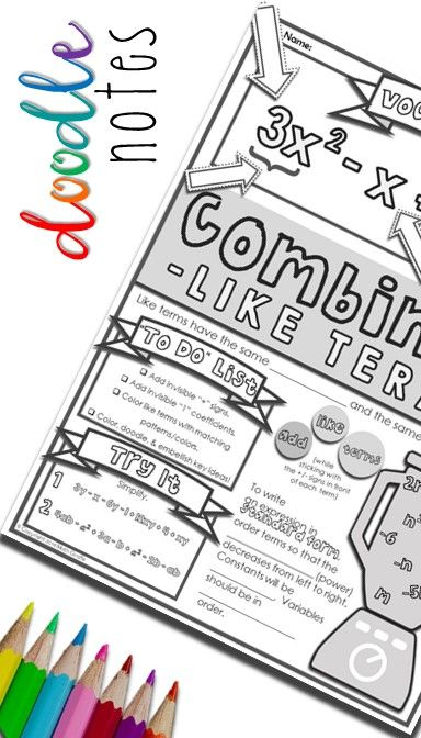 Combining Like Terms Doodle Notes Math Explorations Math