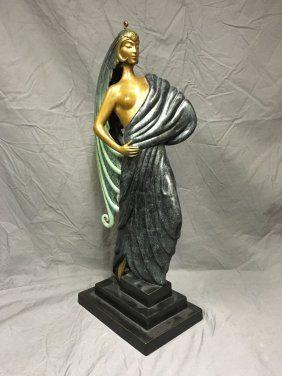 """Erte """"beauty & The Beast"""" Ltd Ed Bronze Sculpture"""