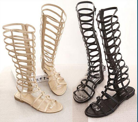 fc19f5d20d61 2016 Women Sandals Summer Flats Sexy Knee High boots gladiator Sandals women  Casual flats Shoes designer