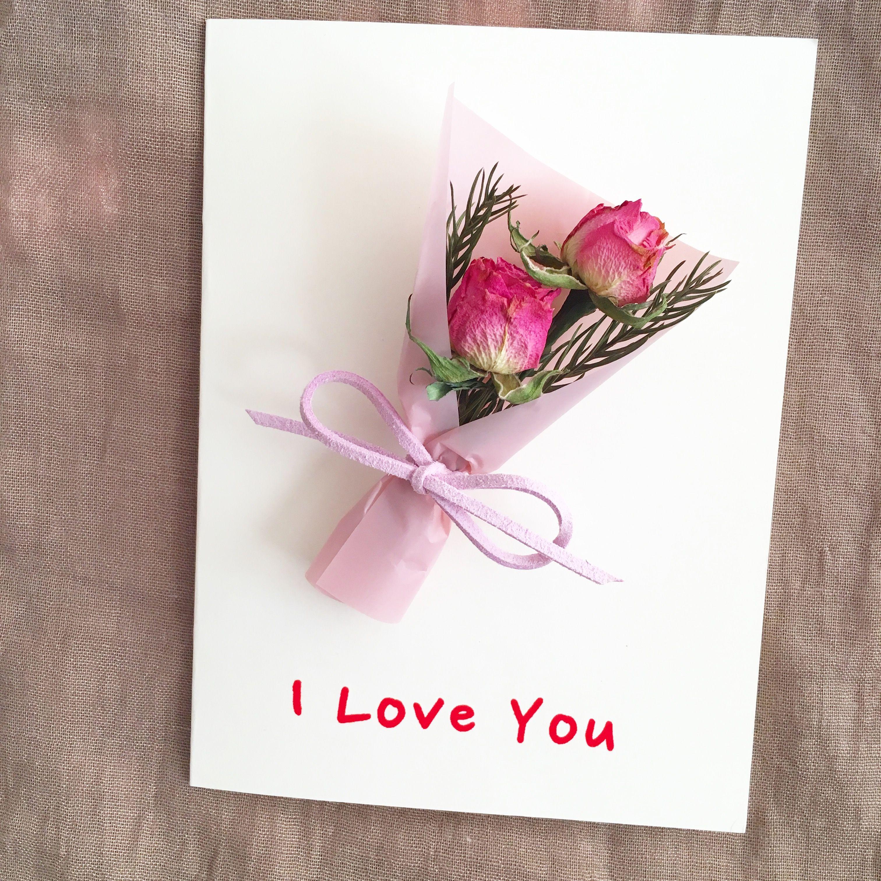 Greeting cardhandmade dried flower card with small roses bouquet greeting cardhandmade dried flower card with small roses bouquet design blank card birthday cardwedding invitationanniversary card izmirmasajfo Gallery
