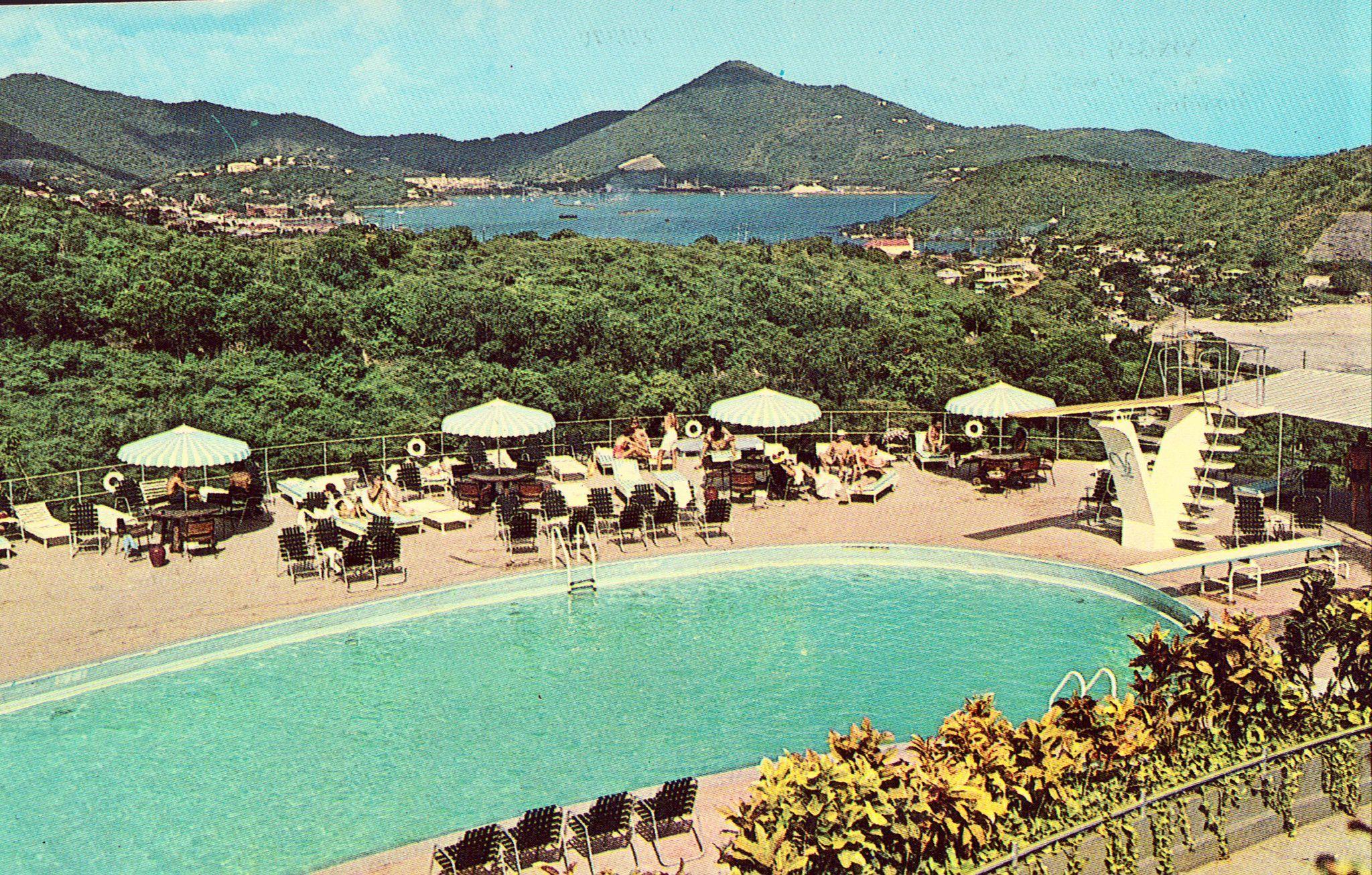 Vintage Hotel Postcards Unused Postcard Swimming Pool At Virgin Isle Hilton St Thomas Islands Plastichrome By Colourpicture P55170