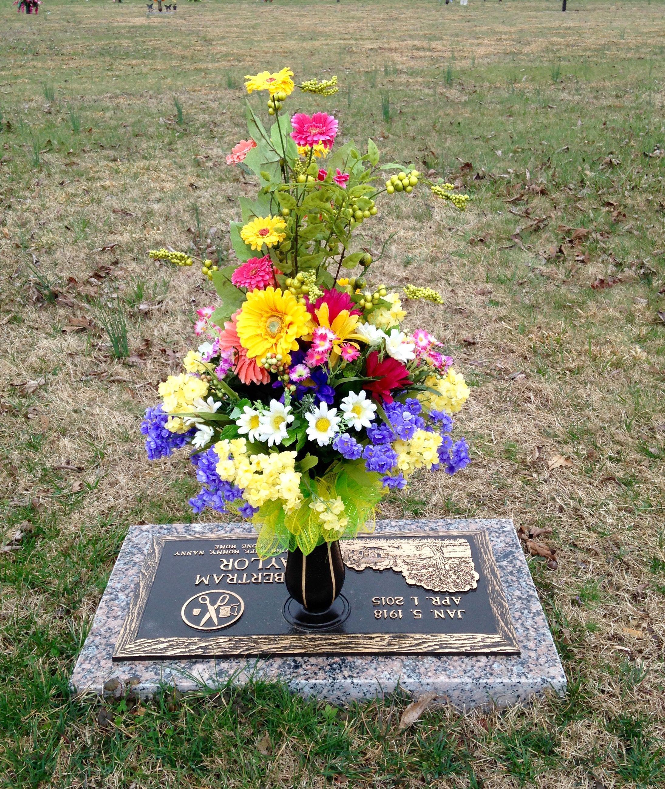 Summer Flowers For Grave Vase Memorial Flowers Artificial Flower Arrangements Flower Vase Arrangements