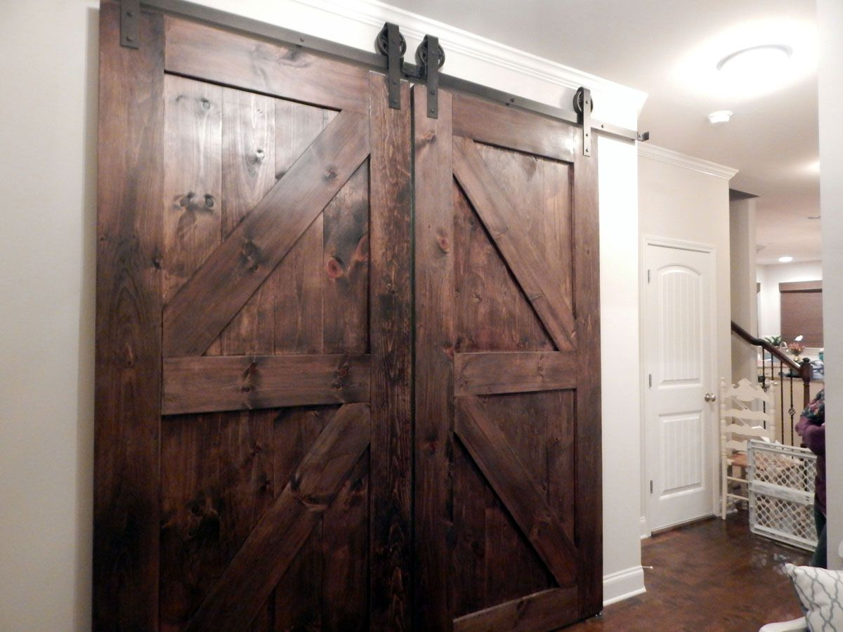 Atlanta Custom Interior Barn Doors   Double Z Style   Finished In Dark  Walnutu2026