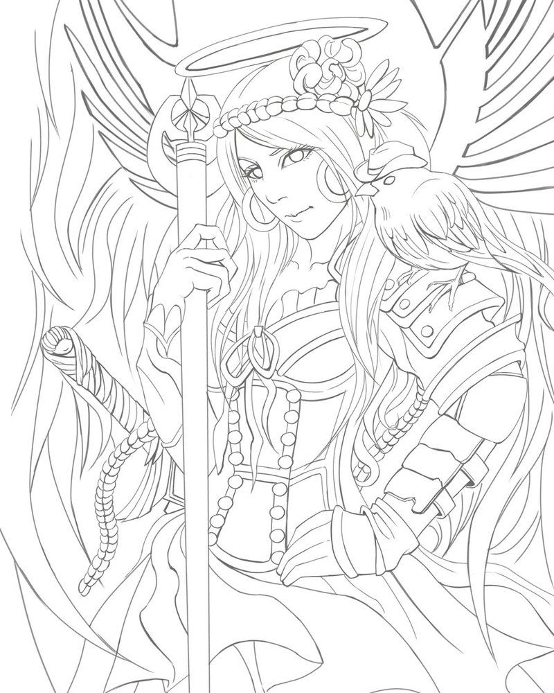 Deviantart More Like Nouveau Fireflies By Crimsonpearls Angel Coloring Pages Coloring Pages Angel Warrior