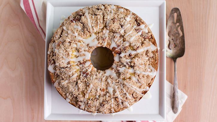 Brown butterbourboncherry coffee cake with pecan