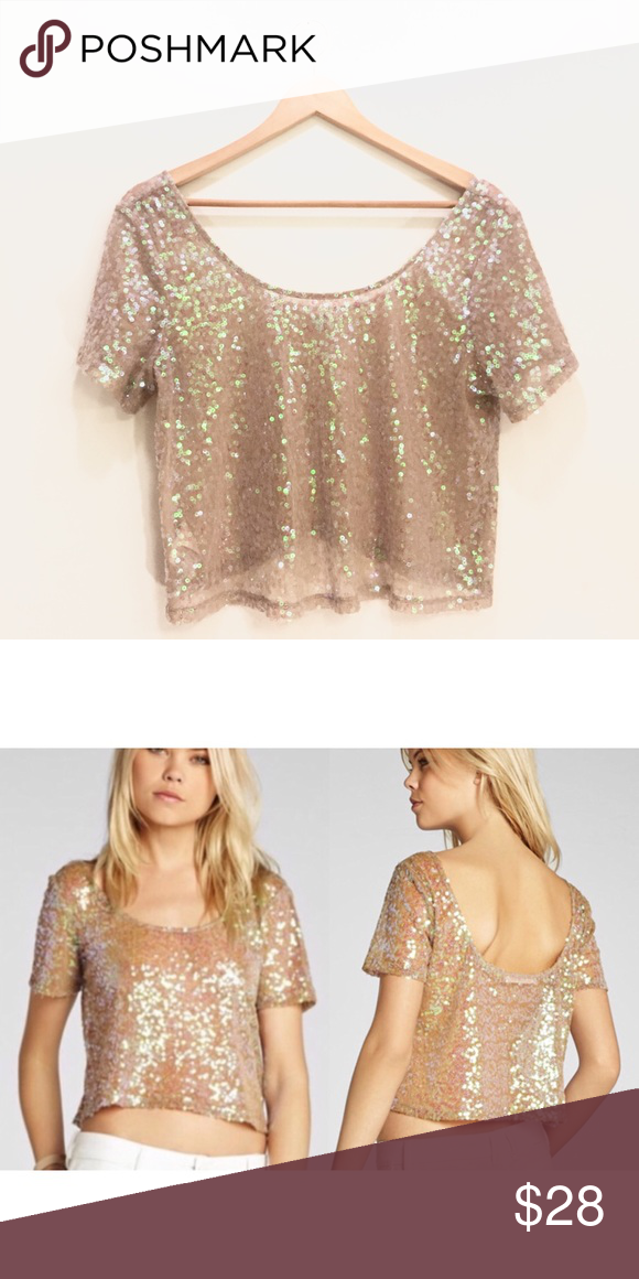 45b9f7f339 BCBGeneration Nude Sequin Crop Top Beautiful sequin crop top that you can  wear casually or dress