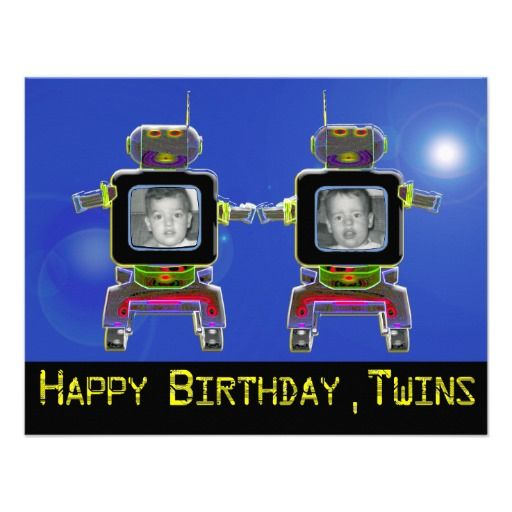 Twin Robot Birthday Party Invitations add photos