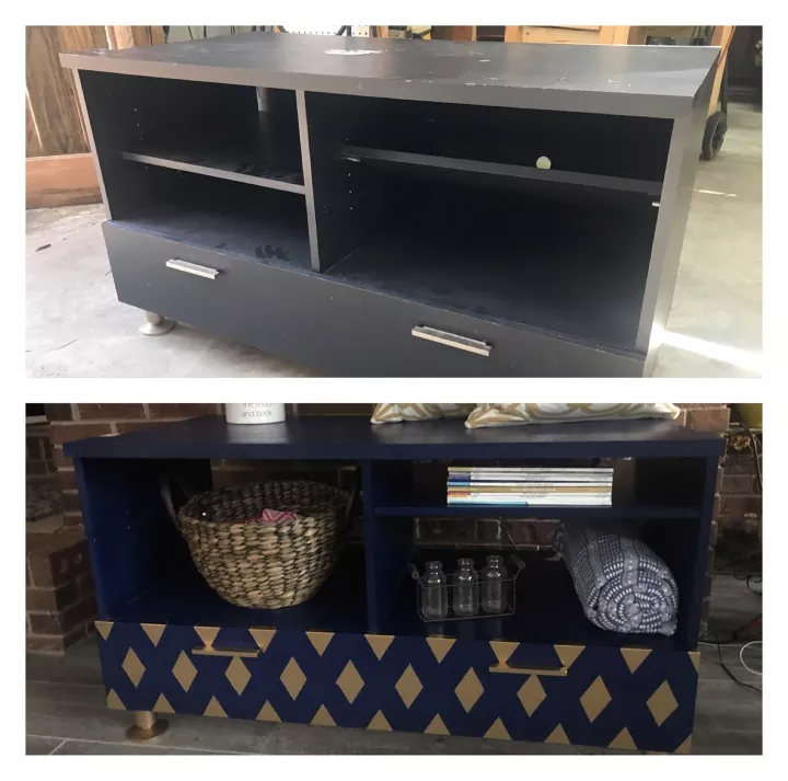 I wish that I could show the person who donated this TV stand the after picture! It looks amazing. I initially bought this for my daughter's room over but think I will keep it! The TV stand cost $18. It is very heavy! My husband and I struggled to get it in his Jeep. First I looked on line for an inspiration piece. Then talked to my daughter about what she liked and didn't like. Below is the inspiration picture. It was in very good shape except for a small area that looked like a…