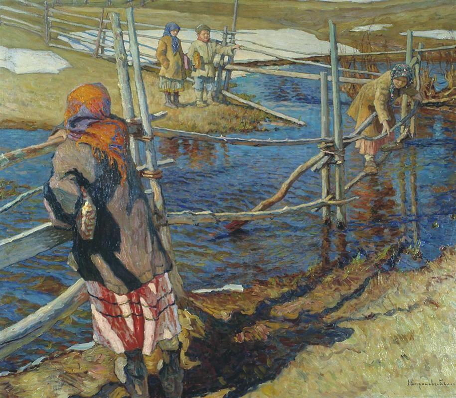 Peasant, Ferriage, 1915 - Nikolay Bogdanov-Belsky