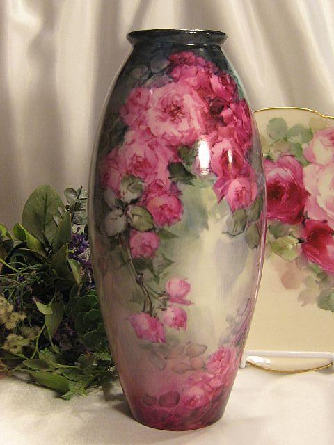 Antique Dc Limoges France Hand Painted Vase Vintage China
