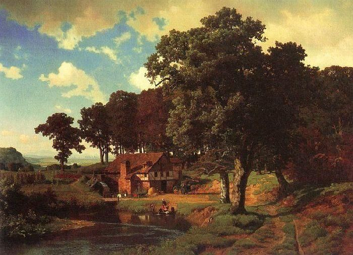 Moulin rustique, huile de Albert Bierstadt (1830-1902, Germany)