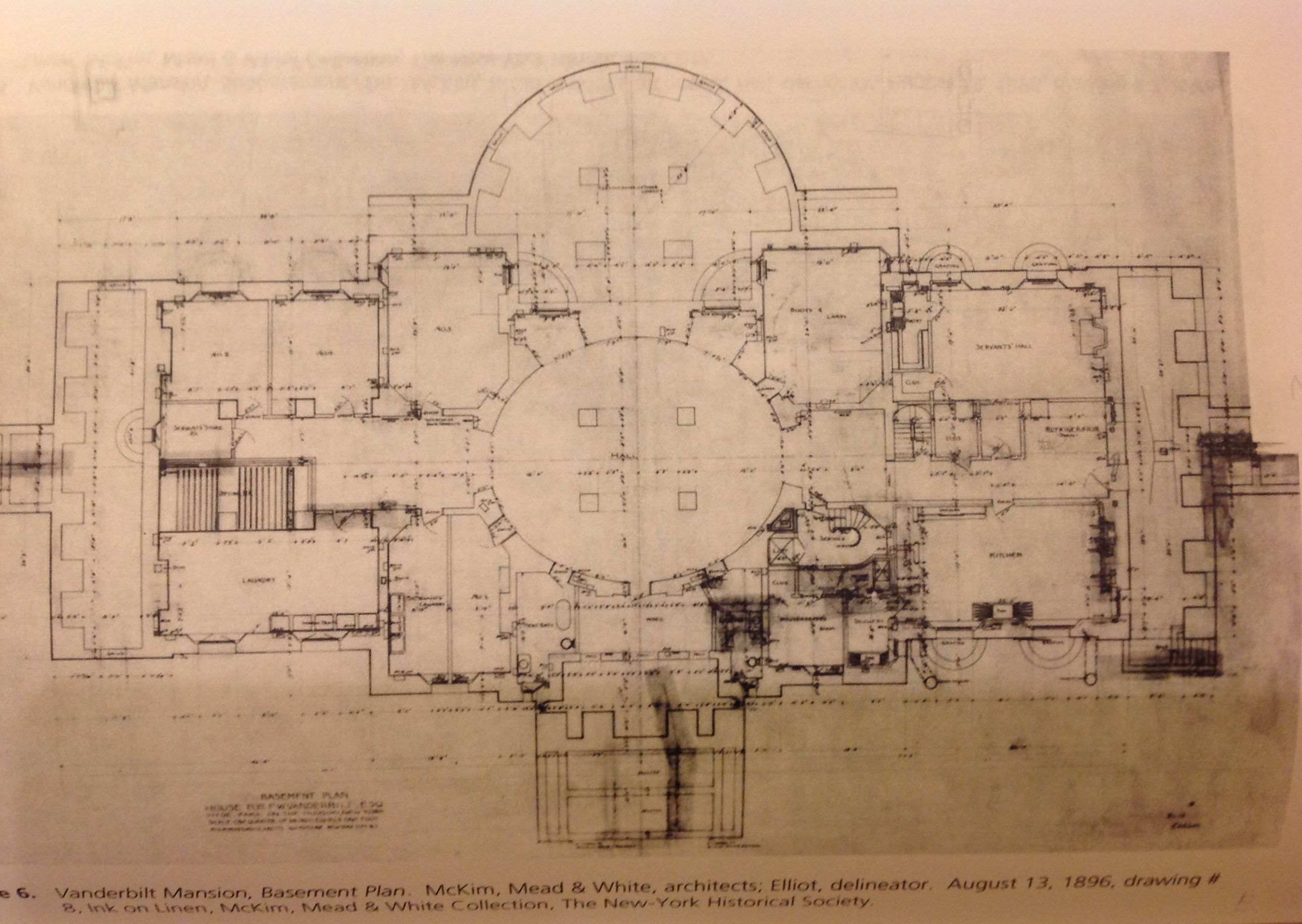 Vanderbilt Mansion Hyde Park Basement Architectural Floor Plans Mansion Plans Vanderbilt Mansions