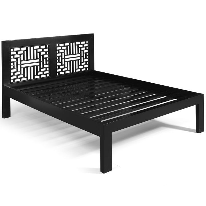 Chinese Ming Carved Bed with Lattice Headboard, Dark Wood or Black ...