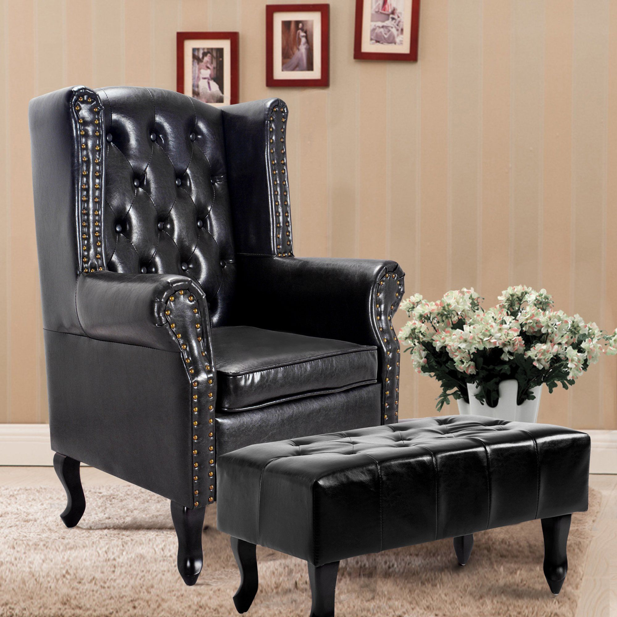 Cloud mountain tufted accent chair and ottoman black