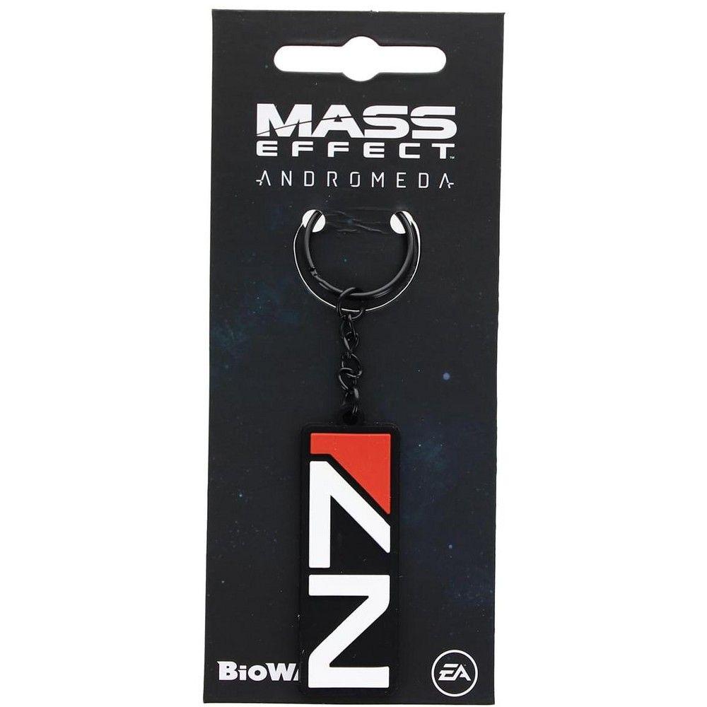 Nerd Block Mass Effect N7 Black Rubber Keychain Rubber Keychain Mass Effect Keychain
