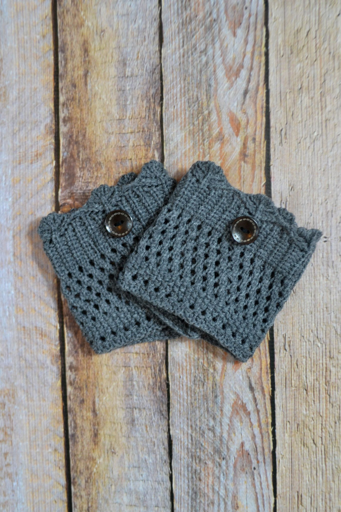 Be sassy, simple, + sleek in the Grey Crochet One-Button Boot Cuffs ...