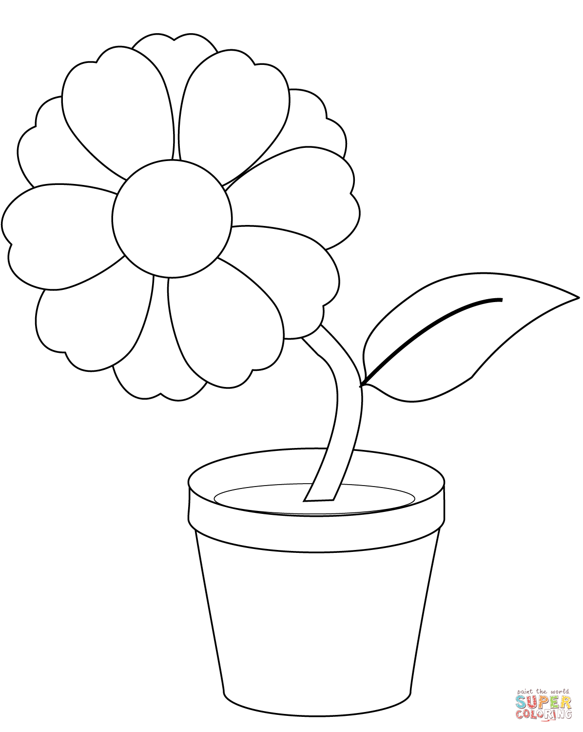 Flower Pot Coloring Page Coloringcrew Com Flower Printable Coloring Pages Flower Stencil Patterns