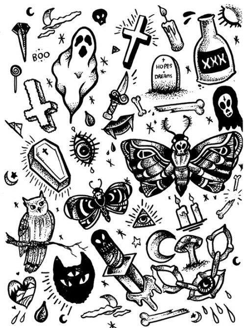 Tattoo Flash Art Black And White Guitar: Tatuagem Inspiradora, Tattoo Old School
